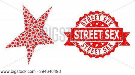 Vector Mosaic Asymmetrical Star Of Sars Virus, And Street Sex Corroded Ribbon Stamp Seal. Virus Elem