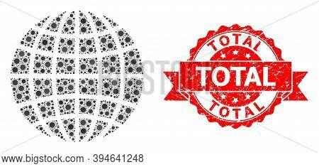 Vector Mosaic Globe Of Sars Virus, And Total Unclean Ribbon Seal Print. Virus Cells Inside Globe Mos