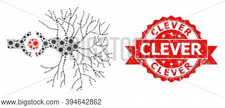 Vector Collage Neuron Digital Interface Of Virus, And Clever Grunge Ribbon Stamp. Virus Cells Inside