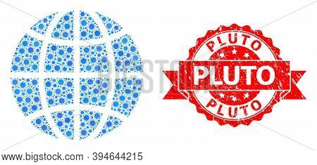 Vector Collage Globe Of Flu Virus, And Pluto Corroded Ribbon Stamp Seal. Virus Items Inside Globe Mo