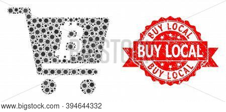 Vector Collage Bitcoin Webshop Of Virus, And Buy Local Scratched Ribbon Stamp Seal. Virus Cells Insi