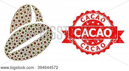 Vector Mosaic Cacao Beans Of Sars Virus, And Cacao Grunge Ribbon Stamp Seal. Virus Items Inside Caca