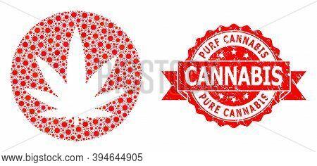 Vector Collage Medical Cannabis Of Virus, And Pure Cannabis Textured Ribbon Seal Imitation. Virus It