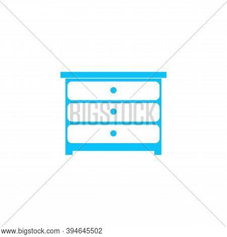 Commode Icon Flat. Blue Pictogram On White Background. Vector Illustration Symbol