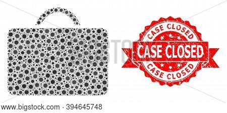 Vector Collage Case Of Virus, And Case Closed Scratched Ribbon Stamp Seal. Virus Particles Inside Ca