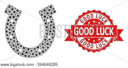 Vector Collage Horseshoe Of Virus, And Good Luck Unclean Ribbon Stamp Seal. Virus Items Inside Horse