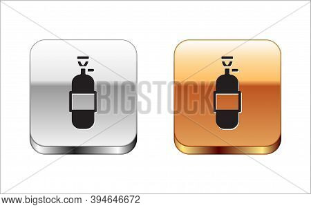 Black Propane Gas Tank Icon Isolated On White Background. Flammable Gas Tank Icon. Silver-gold Squar