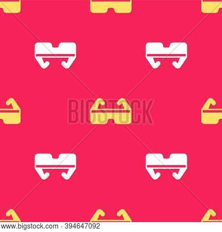 Yellow Safety Goggle Glasses Icon Isolated Seamless Pattern On Red Background. Vector