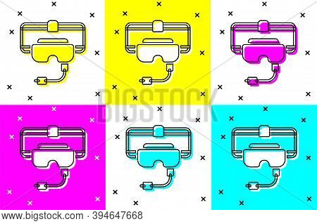 Set Virtual Reality Glasses Icon Isolated On Color Background. Stereoscopic 3d Vr Mask. Vector