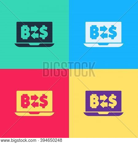 Pop Art Cryptocurrency Exchange Icon Isolated On Color Background. Bitcoin To Dollar Exchange Icon.