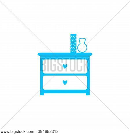 Dresser With Vases Icon Flat. Blue Pictogram On White Background. Vector Illustration Symbol