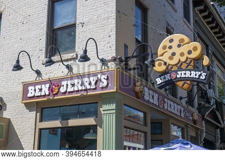 Manchester, Nh, Usa - Aug. 29, 2019: Ben & Jerry's Ice Cream Shop On 940 Elm Street At Stark Street