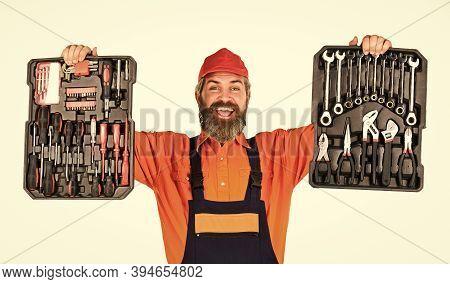 Electrician Tools. Professional Equipment. Dream Of Handyman. Set Of Tools. Screwdrivers Set. Man Ca