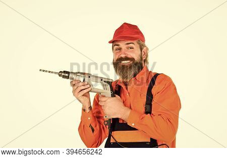 Powerful Drill. Buy Drill. Builder Repairman Makes Hole. Safety Measures. Drilling Concept. For Dril