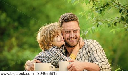 Develop Healthy Eating Habits. Feed Baby. Natural Nutrition Concept. Fathers Day. Best Friends. Fath