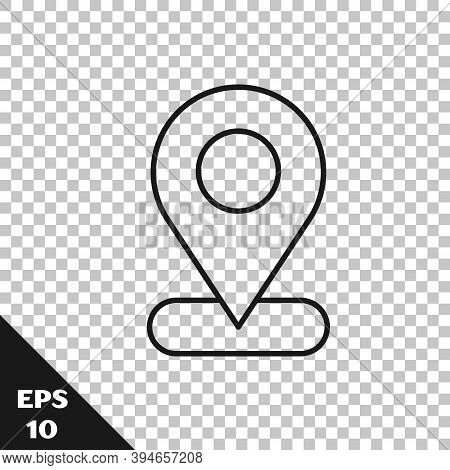 Black Line Map Pin Icon Isolated On Transparent Background. Navigation, Pointer, Location, Map, Gps,