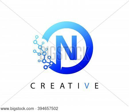 Circle N Letter Digital Network , Abstract Blue N Technology Logo Design.