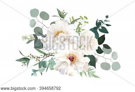 Ivory Beige, White And Creamy Rose, Peony Flowers Vector Design Wedding Bouquet. Eucalyptus, Greener