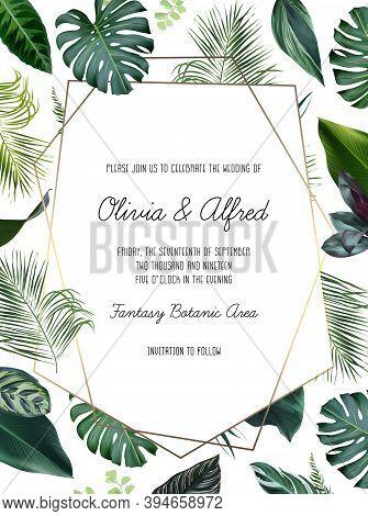 Emerald Green Monstera, Calathea, Palm Tropical Leaves Template Geometric Card. Emerald Exotic Green