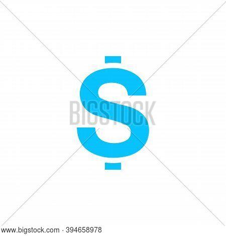 Dollars Usd Money Icon Flat. Blue Pictogram On White Background. Vector Illustration Symbol