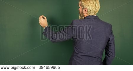 First Day At School. Senior Teacher On September 1. University Professor Write On Chalkboard. On Sep