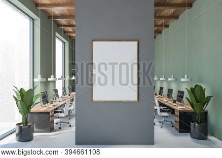Green Office Room With Mockup Blank Canvas With Computers On Tables And White Armchairs. Open Space