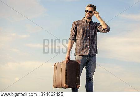Travel Often. Traveler Wait For Flight. Move. Sexy Man Sky Background. Businessman In Glasses. Busin