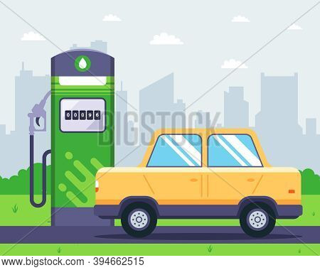 Gas Station With A Car Nearby. Refilling The Tank With Gasoline. Flat Vector Illustration.