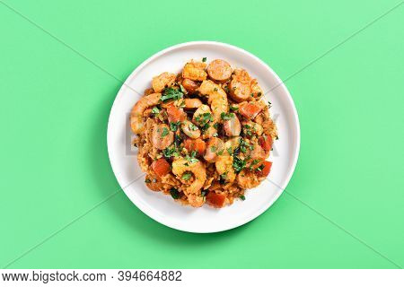 Close Up View Of Creole Jambalaya With Chicken Meat, Rice, Smoked Sausages And Vegetables On Plate O