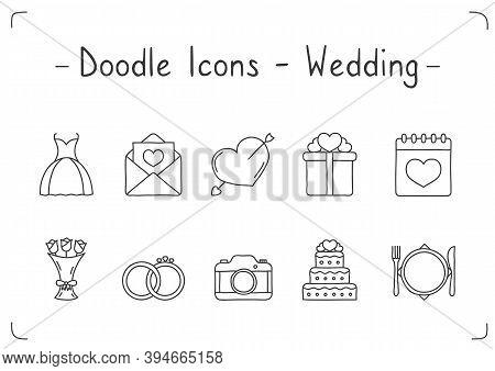 10 Handdrawn Doodle Wedding Icons, Vector Eps10 Illustration