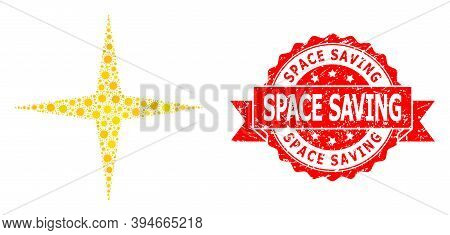 Vector Collage Space Star Of Virus, And Space Saving Dirty Ribbon Stamp. Virus Elements Inside Space