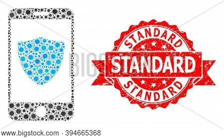 Vector Mosaic Smartphone Shield Of Virus, And Standard Corroded Ribbon Stamp Seal. Virus Items Insid