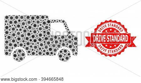 Vector Mosaic Van Car Of Covid-2019 Virus, And Drive Standard Grunge Ribbon Seal. Virus Elements Ins