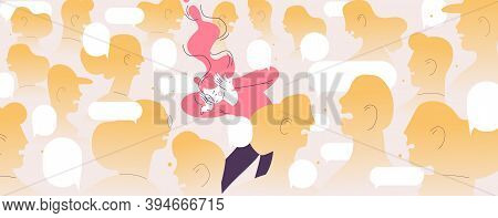Woman Suffers From Loudy Crowd. Concept Character In Depreddion Because Of Public Condemnation And S