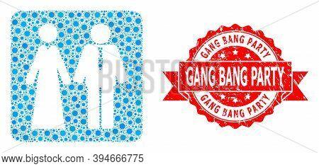 Vector Mosaic Newlyweds Of Sars Virus, And Gang Bang Party Textured Ribbon Seal Print. Virus Cells I