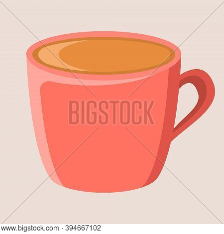 Pink Cozy Cup Of Cocoa. Vector Postcard Illustration