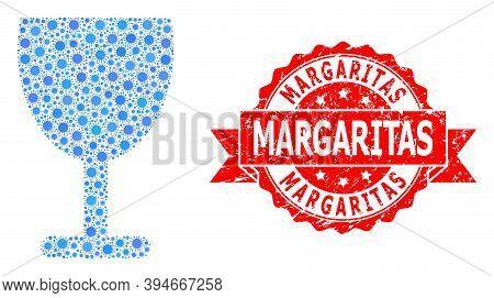 Vector Collage Wine Cup Of Corona Virus, And Margaritas Unclean Ribbon Seal. Virus Items Inside Wine