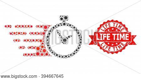 Vector Collage Time Of Sars Virus, And Life Time Scratched Ribbon Seal. Virus Particles Inside Time