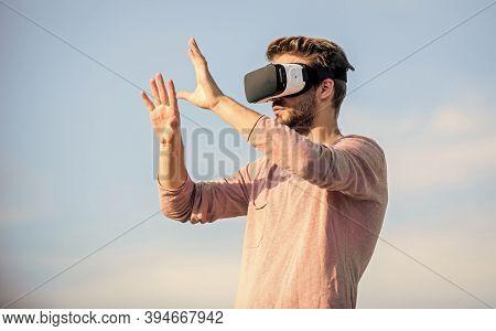 Fun With Virtual Reality Headset. Play Virtual Game. Guy Virtual Reality Goggle. Macho Man Wear Wire