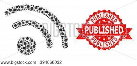 Vector Collage Radio Signal Of Sars Virus, And Published Corroded Ribbon Seal Imitation. Virus Parti