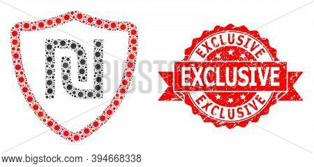 Vector Collage Shekel Shield Of Sars Virus, And Exclusive Textured Ribbon Stamp Seal. Virus Elements