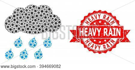 Vector Mosaic Rain Cloud Of Virus, And Heavy Rain Grunge Ribbon Stamp Seal. Virus Items Inside Rain