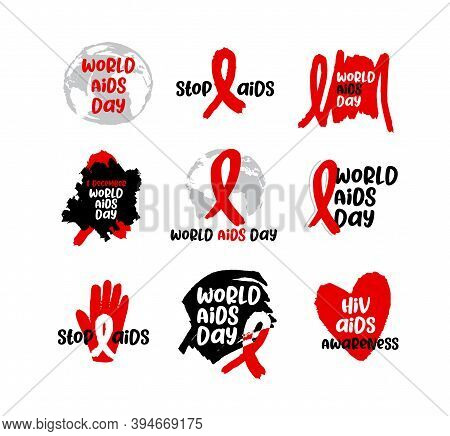 World Aids Day 1 December International Day For Global Health. Vector Label Aids And Hiv Illustratio