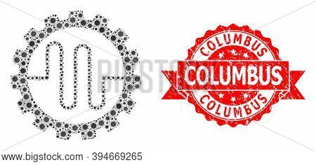 Vector Collage Pipe Service Cog Of Sars Virus, And Columbus Unclean Ribbon Stamp. Virus Elements Ins