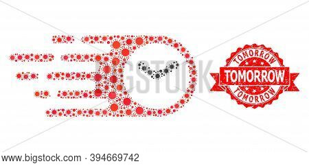 Vector Mosaic Speed Time Of Flu Virus, And Tomorrow Grunge Ribbon Stamp Seal. Virus Particles Inside