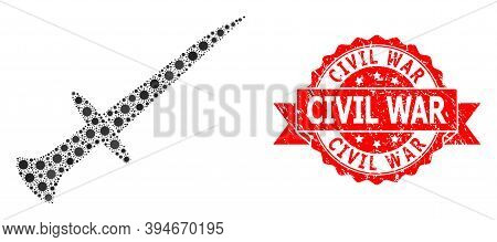 Vector Mosaic Sword Of Corona Virus, And Civil War Rubber Ribbon Stamp Seal. Virus Particles Inside