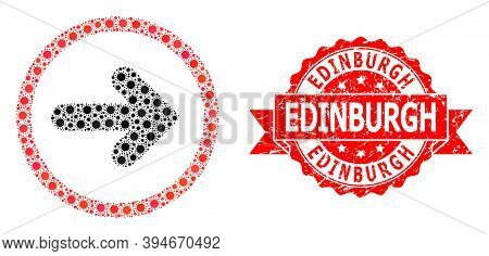 Vector Collage Right Pointer Of Virus, And Edinburgh Rubber Ribbon Seal Imitation. Virus Elements In