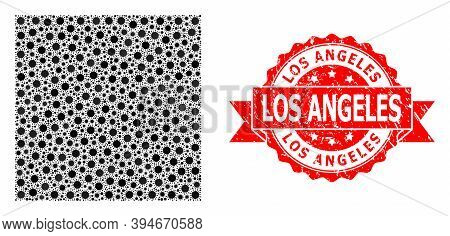 Vector Mosaic Square Shape Of Flu Virus, And Los Angeles Corroded Ribbon Stamp Seal. Virus Elements