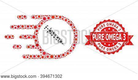 Vector Collage Rush Vaccine Of Corona Virus, And Pure Omega 3 Grunge Ribbon Stamp Seal. Virus Items