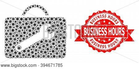 Vector Collage Service Toolkit Of Flu Virus, And Business Hours Unclean Ribbon Seal Print. Virus Cel